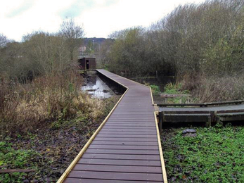 New recycled plastic boardwalk at Severn Farm Pond Nature Reserve