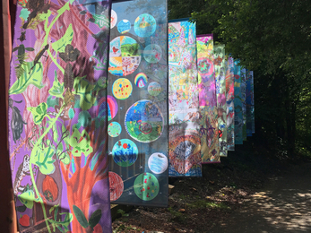 Art Oasis banners at Severn Farm Pond copyright Montgomeryshire Wildlife Trust