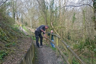 Volunteer activity in Deri Woods Llanfair Caereinion