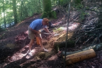 Deri Woods volunteer at work copyright Montgomeryshire Wildlife Trust