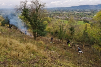 Volunteers clearing scrub at Llanymynech Rocks Nature Reserve autumn 2018 copyright Montgomeryshire Wildlife Trust