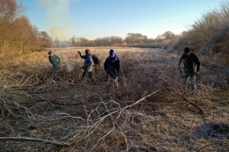 Volunteers clearing scrub at Dolydd Hafren Nature Reserve copyright Montgomeryshire Wildlife Trust