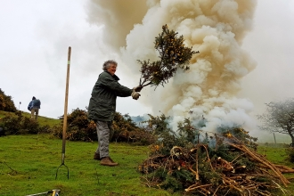 Volunteers burning cut gorse at Roundton Hill copyright Montgomeryshire Wildlife Trust