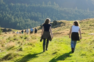 Walkers at Gilfach Nature Reserve copyright Radnorshire Wildlife Trust