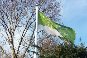 Green Flag in situ at Severn Farm Pond Nature Reserve copyright Montgomeryshire Wildlife Trust