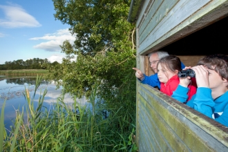 Family birdwatching from hide at Westhay SWT reserve, Somerset Levels, Somerset, England, UK - Guy Edwardes/2020VISION
