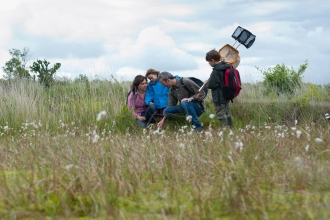 Family visiting the Westhay Nature Reserve, Somerset Levels copyright Paul Harris/2020VISION