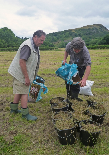 Volunteers preparing meadow seed for broadcasting