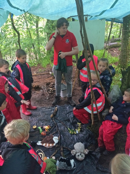 A school group in Deri Woods copyright Montgomeryshire Wildlife Trust