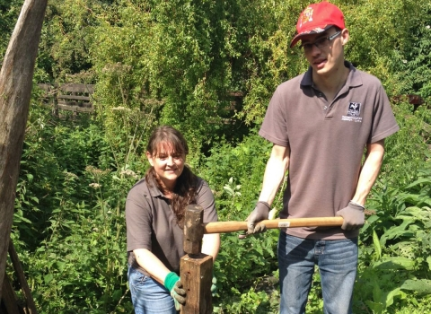 Friends of Severn Farm Pond at work copyright Montgomeryshire Wildlife Trust